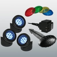 Set of 3 12-LED Lights w/Transformer, Photocell & Colored Lenses